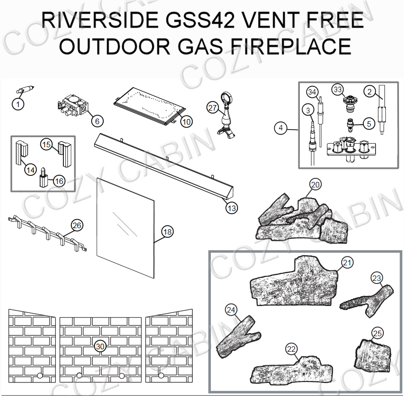 Riverside Vent Free Outdoor Gas Fireplace (GSS42) #GSS42