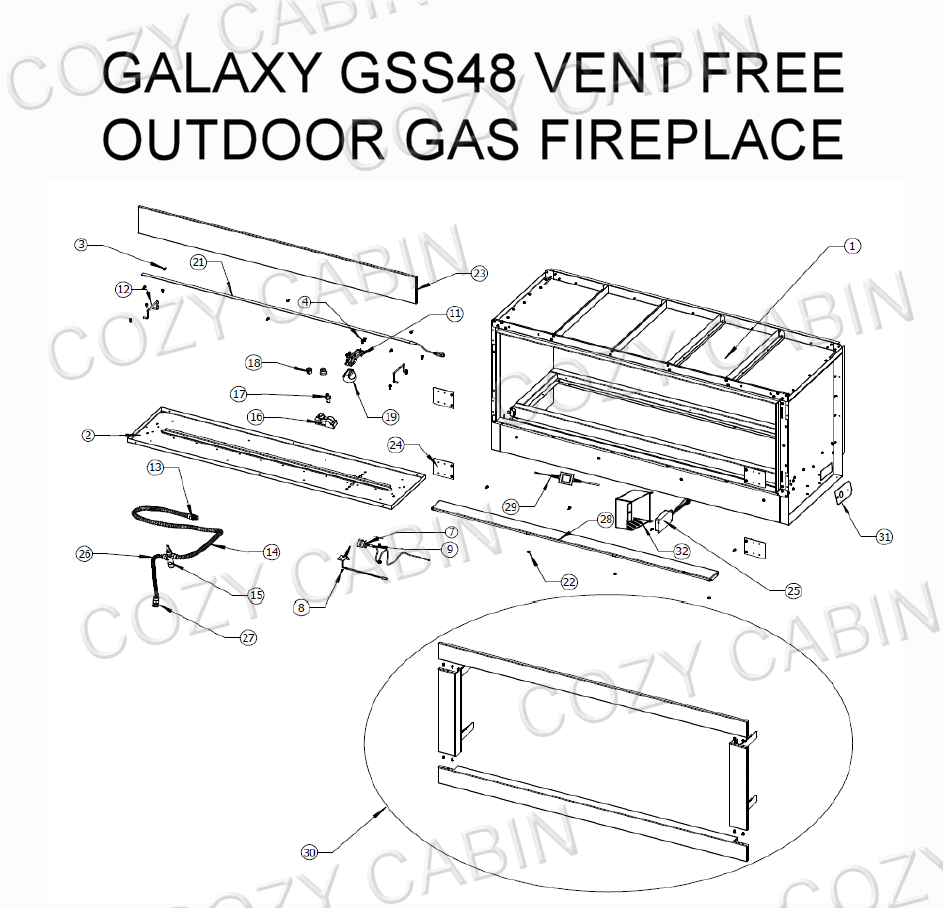 Galaxy Vent Free Outdoor Gas Fireplace (GSS48) #GSS48