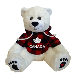 """10"""" Smiley Sitting Polar Bear with red jack Canada hoody #SMS-03"""