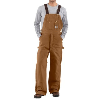 Carhartt Duck Zip-to-Thigh Bib Overall/Quilt Lined #R41