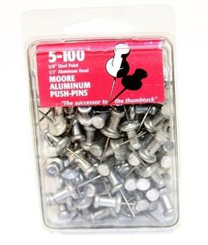 "Aluminum Head Push Pins - 5/8"" NSCAPP"