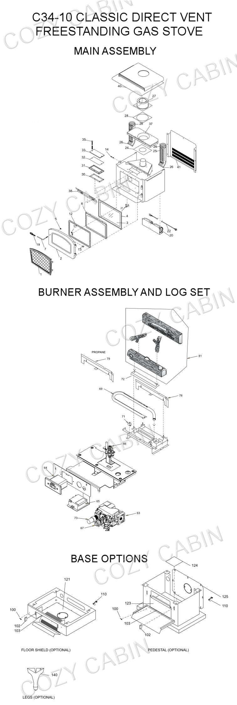 Classic Direct Vent Gas Stove C34 10 Cozy Cabin Regency Burner Schematic