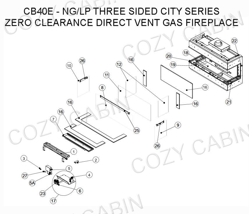 City Series Direct Vent Gas Fireplace (CB40E - NG/LP) #CB40E