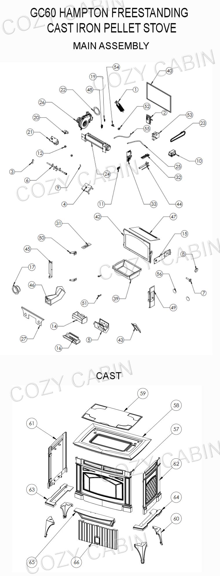 Hampton Pellet Stove Gc60 Cozy Cabin Regency Parts Store Hopper Wiring Diagram