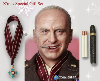 """DID 1/6 Scale 12"""" WWII US General Patton Special Christmas Gift Set Cigar & Head #DID-SG1"""