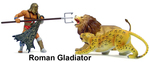 BBI 1/18 Scale 90mm Warriors of the World Gladiator with Two Animals 21731 21731
