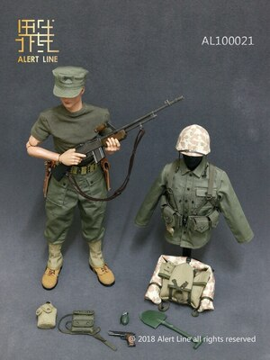"Alert Line 1/6 Scale 12"" WWII US Marine Corps Browning Automatic Rifle BAR Gunner Accessory 100021 100021"