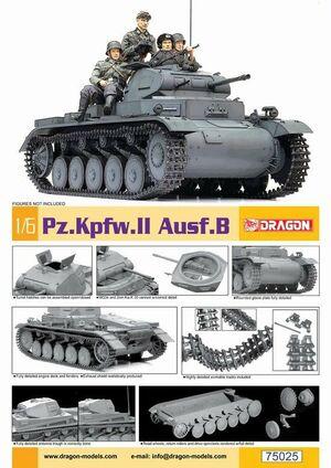 "1/6 Scale 12"" WWII German Panzer Pz.Kpfw II Ausf. B Tank Model Kit 75025 75025"